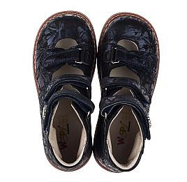 Детские ортопедические туфли (с высоким берцем) Woopy Orthopedic синие для девочек натуральный нубук размер 30-36 (3659) Фото 5
