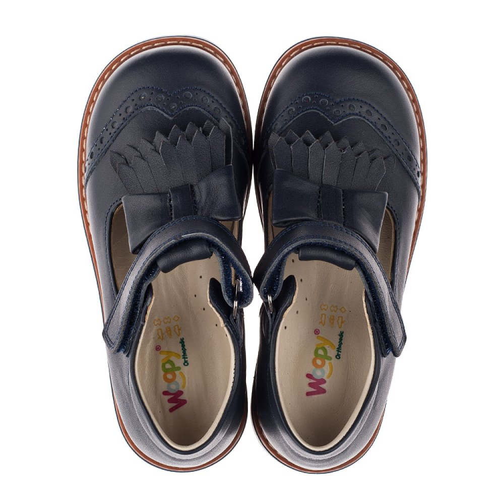 Детские туфли ортопедические Woopy Orthopedic синие для девочек натуральная кожа размер 29-34 (3665) Фото 5