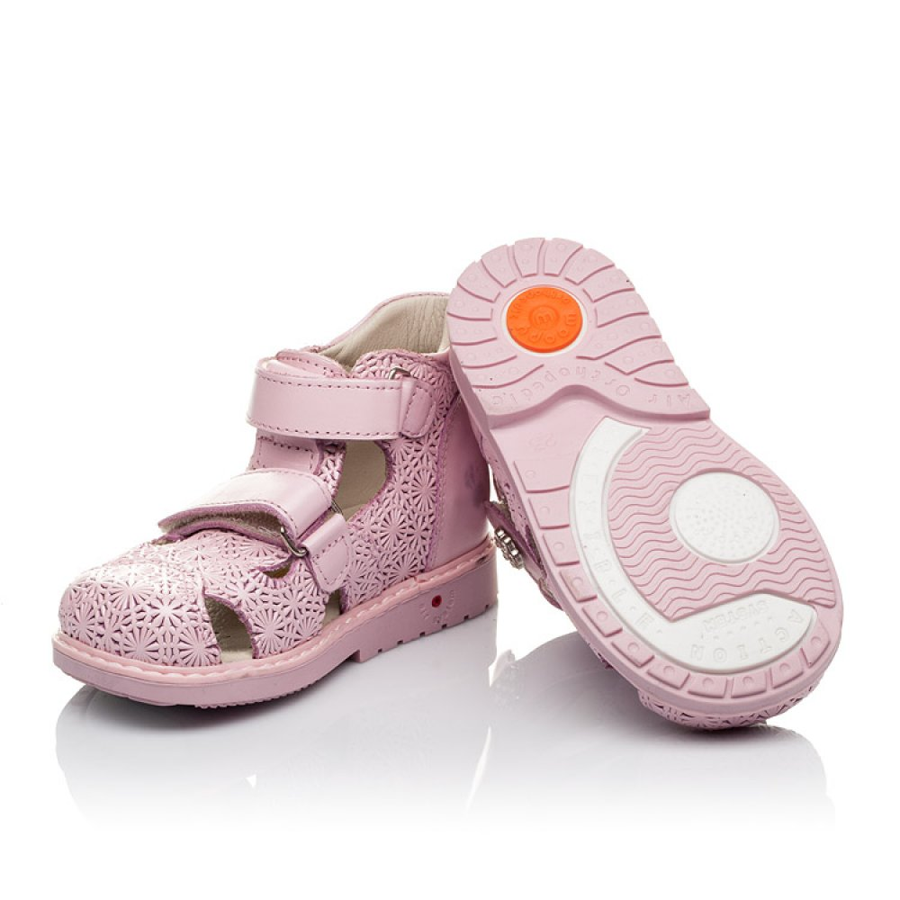 Детские ортопедические босоножки Woopy Orthopedic розовые для девочек натуральная кожа размер 18-25 (3666) Фото 2