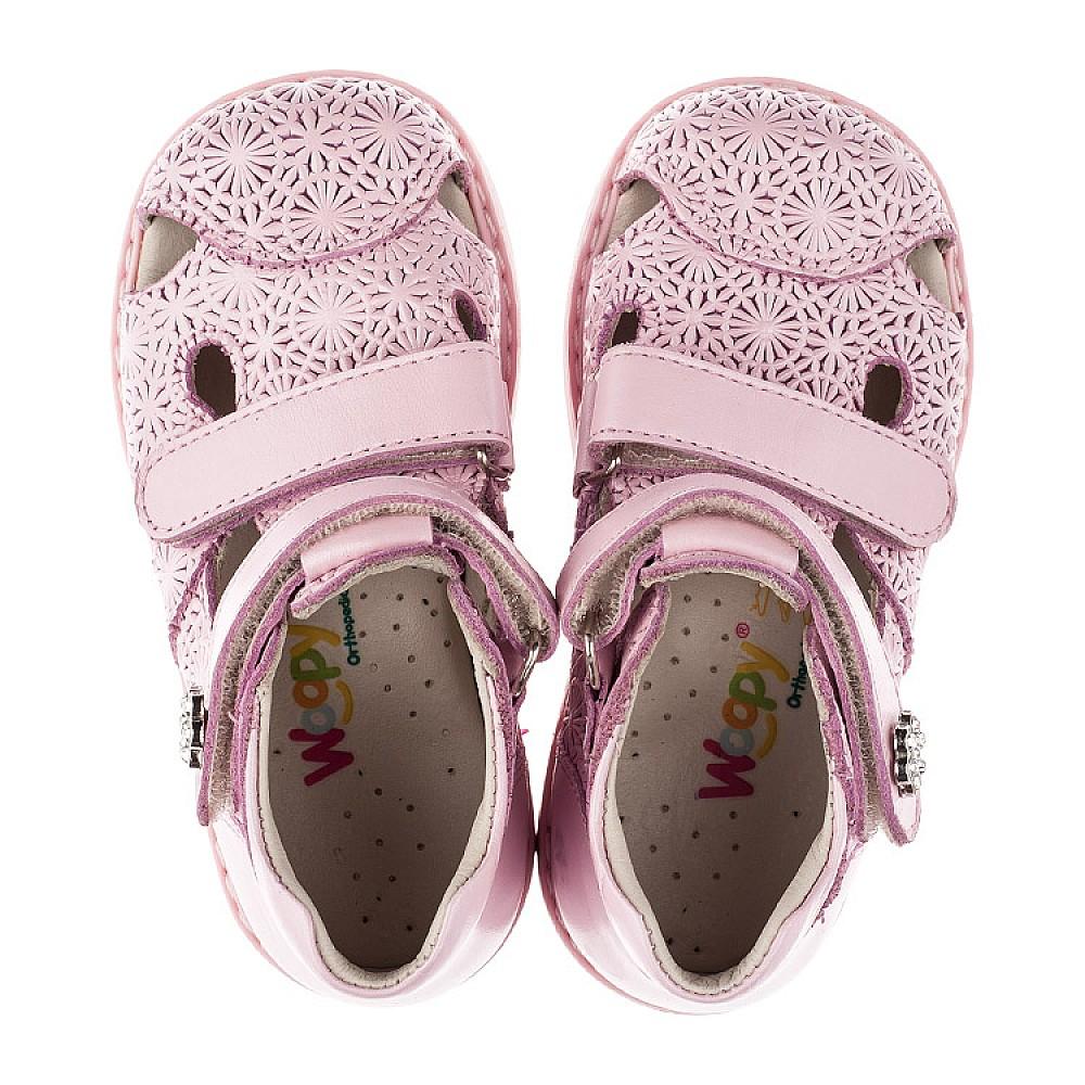 Детские ортопедические босоножки Woopy Orthopedic розовые для девочек натуральная кожа размер 18-25 (3666) Фото 5