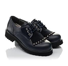 Детские туфли (шнурок-резинка) Woopy Orthopedic темно-синие для девочек натуральная кожа размер 32-40 (3671) Фото 1