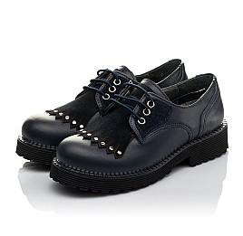 Детские туфли (шнурок-резинка) Woopy Orthopedic темно-синие для девочек натуральная кожа размер 32-40 (3671) Фото 3