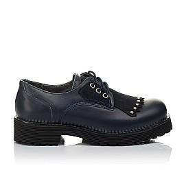 Детские туфли (шнурок-резинка) Woopy Orthopedic темно-синие для девочек натуральная кожа размер 32-40 (3671) Фото 4