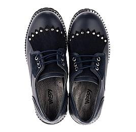 Детские туфли (шнурок-резинка) Woopy Orthopedic темно-синие для девочек натуральная кожа размер 32-40 (3671) Фото 5