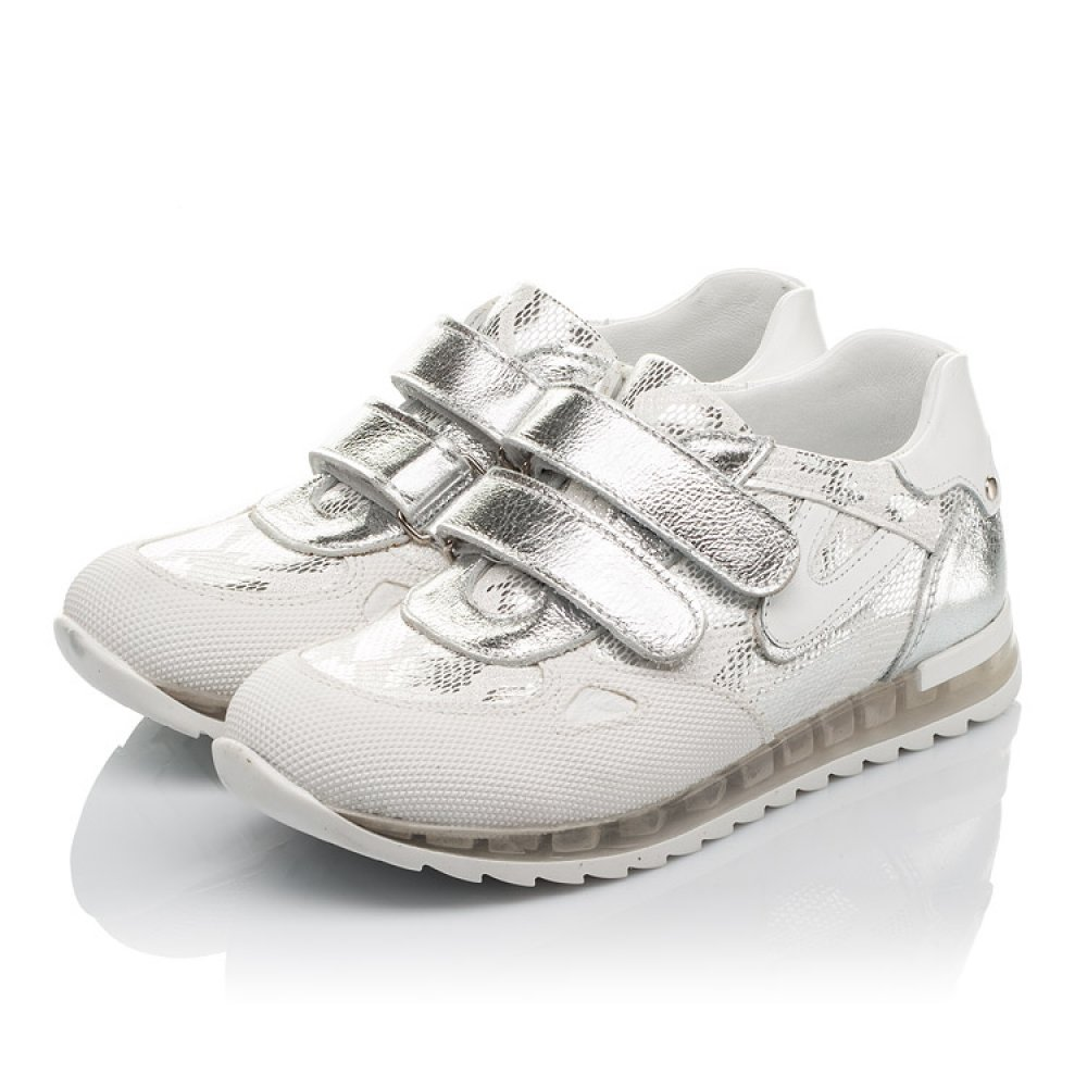 Детские кроссовки Woopy Orthopedic белые, серебро для девочек натуральная кожа размер 31-37 (3674) Фото 3
