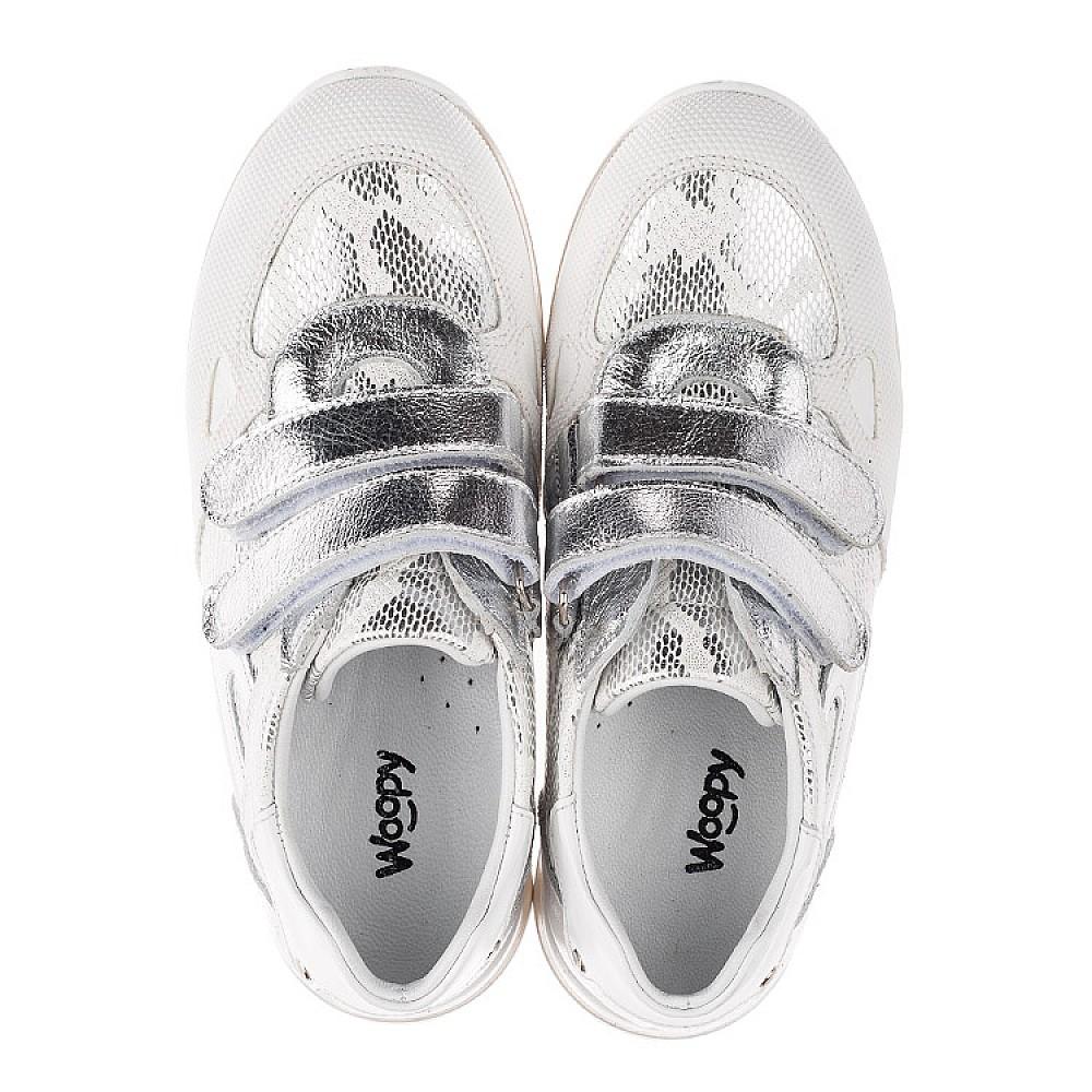 Детские кроссовки Woopy Orthopedic белые, серебро для девочек натуральная кожа размер 31-37 (3674) Фото 5