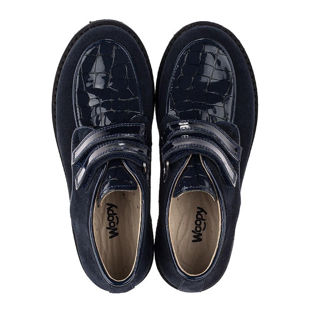 Детские туфли Woopy Orthopedic темно-синие для девочек натуральная замша, лаковая кожа размер 31-36 (3676) Фото 5
