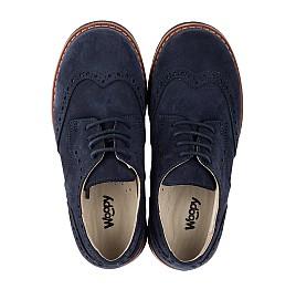 Детские туфли (шнурок-резинка) Woopy Orthopedic синие для мальчиков натуральный нубук размер 32-39 (3677) Фото 5