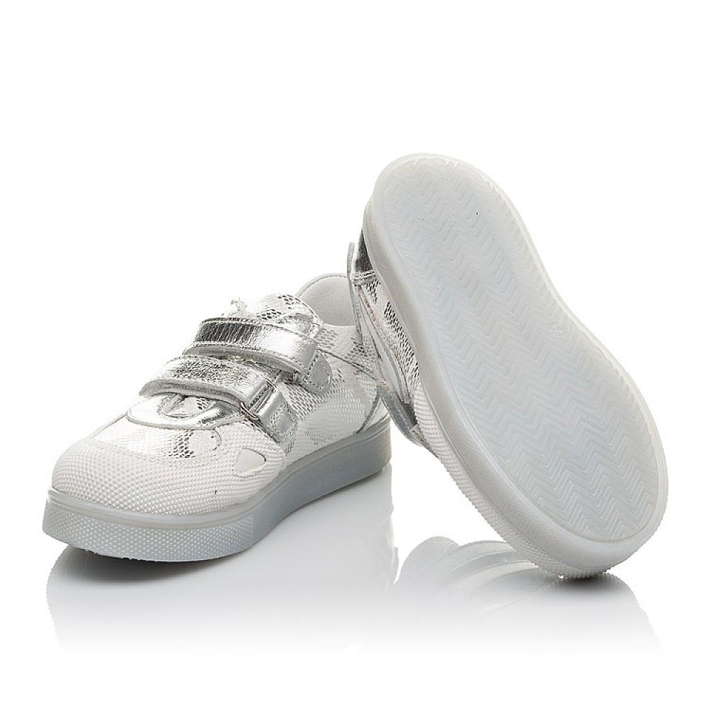 Детские кеды Woopy Orthopedic белые, серебро для девочек натуральная кожа размер 21-30 (3678) Фото 2