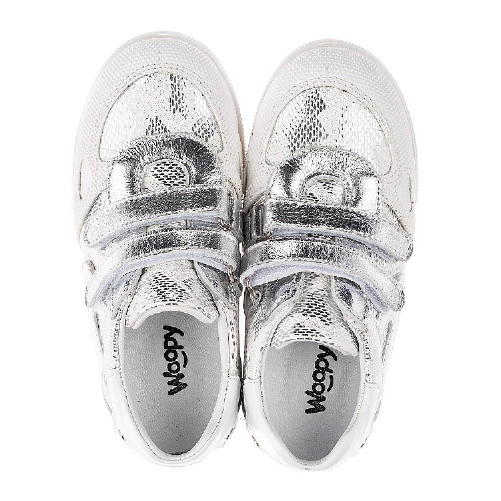 Детские кеды Woopy Orthopedic белые, серебро для девочек натуральная кожа размер 21-30 (3678) Фото 5