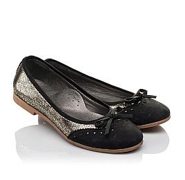 Детские туфли Woopy Orthopedic черные, золотые для девочек натуральная кожа, нубук размер 39-39 (3685) Фото 1