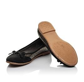 Детские туфли Woopy Orthopedic черные, золотые для девочек натуральная кожа, нубук размер 39-39 (3685) Фото 2