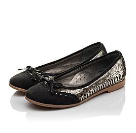 Детские туфли Woopy Orthopedic черные, золотые для девочек натуральная кожа, нубук размер 39-39 (3685) Фото 3