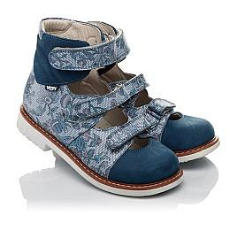 Детские ортопедические туфли (с высоким берцем) Woopy Orthopedic синие для девочек натуральный нубук размер 24-34 (3692) Фото 1