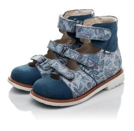 Детские ортопедические туфли (с высоким берцем) Woopy Orthopedic синие для девочек натуральный нубук размер 24-34 (3692) Фото 3