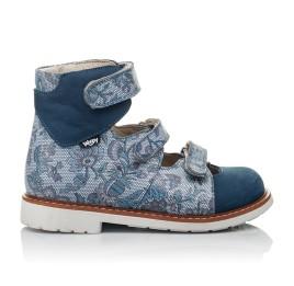 Детские ортопедические туфли (с высоким берцем) Woopy Orthopedic синие для девочек натуральный нубук размер 24-34 (3692) Фото 4