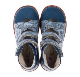 Детские ортопедические туфли (с высоким берцем) Woopy Orthopedic синие для девочек натуральный нубук размер 24-34 (3692) Фото 5