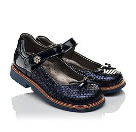 Детские туфли ортопедические Woopy Orthopedic темно-синие для девочек лаковая кожа, нубук размер 34-34 (3695) Фото 1