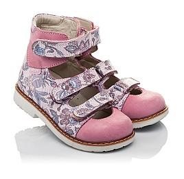 Детские ортопедические туфли (с высоким берцем) Woopy Orthopedic розовые для девочек натуральный нубук размер 24-30 (3699) Фото 1