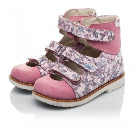 Детские ортопедические туфли (с высоким берцем) Woopy Orthopedic розовые для девочек натуральный нубук размер 24-30 (3699) Фото 3