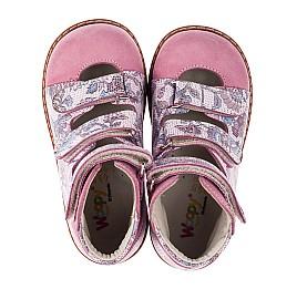 Детские ортопедические туфли (с высоким берцем) Woopy Orthopedic розовые для девочек натуральный нубук размер 24-30 (3699) Фото 5