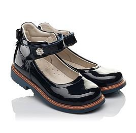 Детские туфли ортопедические Woopy Orthopedic темно-синие для девочек натуральная лаковая кожа размер 28-36 (3700) Фото 1