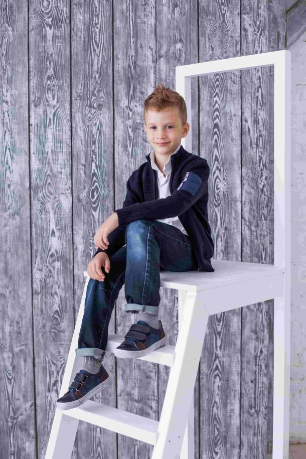 Мальчик обут в детские кеды Woopy Orthopedic синие (3705) Фото 1
