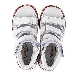 Детские ортопедические босоножки (с высоким берцем) Woopy Orthopedic белые,разноцветные для девочек натуральная кожа размер 21-36 (3708) Фото 5