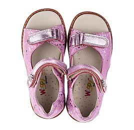 Детские ортопедические босоножки Woopy Orthopedic розовые для девочек натуральный нубук и кожа размер 18-30 (3710) Фото 5