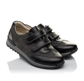 Детские кроссовки Woopy Orthopedic серые, черные для мальчиков натуральная кожа, нубук размер 33-40 (3713) Фото 1