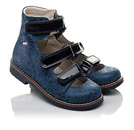 Детские ортопедические туфли (с высоким берцем) Woopy Orthopedic синие для девочек натуральный нубук размер 30-35 (3715) Фото 1
