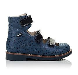 Детские ортопедические туфли (с высоким берцем) Woopy Orthopedic синие для девочек натуральный нубук размер 30-35 (3715) Фото 4