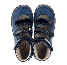 Детские ортопедические туфли (с высоким берцем) Woopy Orthopedic синие для девочек натуральный нубук размер 30-35 (3715) Фото 5