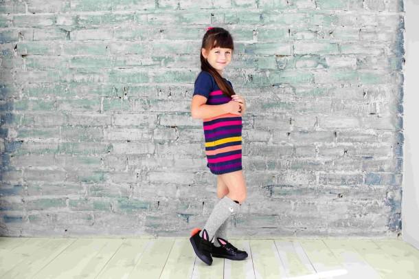 Девочка обута в детские кеды Woopy Orthopedic черные (3726) Фото 1
