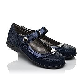 Детские туфли Woopy Orthopedic темно-синие для девочек натуральный нубук с лазерной обработкой размер 31-36 (3733) Фото 1