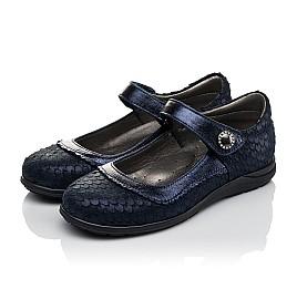 Детские туфли Woopy Orthopedic темно-синие для девочек натуральный нубук с лазерной обработкой размер 31-36 (3733) Фото 3