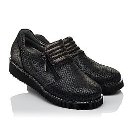 Детские туфли Woopy Orthopedic черные для девочек натуральный нубук с лазерной обработкой размер 30-38 (3734) Фото 1