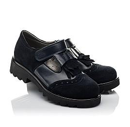 Детские туфли Woopy Orthopedic синие для девочек натуральная кожа, замша размер 31-39 (3749) Фото 1