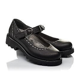Детские туфли (застежка липучка) Woopy Orthopedic черные для девочек  натуральная кожа размер 31-38 (3750) Фото 1