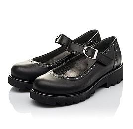 Детские туфли (застежка липучка) Woopy Orthopedic черные для девочек  натуральная кожа размер 31-38 (3750) Фото 3