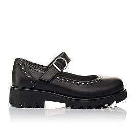 Детские туфли (застежка липучка) Woopy Orthopedic черные для девочек  натуральная кожа размер 31-38 (3750) Фото 4