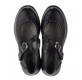 Детские туфли (застежка липучка) Woopy Orthopedic черные для девочек  натуральная кожа размер 31-38 (3750) Фото 5