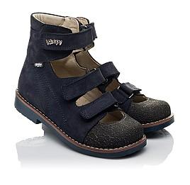 Детские ортопедические туфли (с высоким берцем) Woopy Orthopedic синие для мальчиков натуральный нубук размер 31-36 (3751) Фото 1