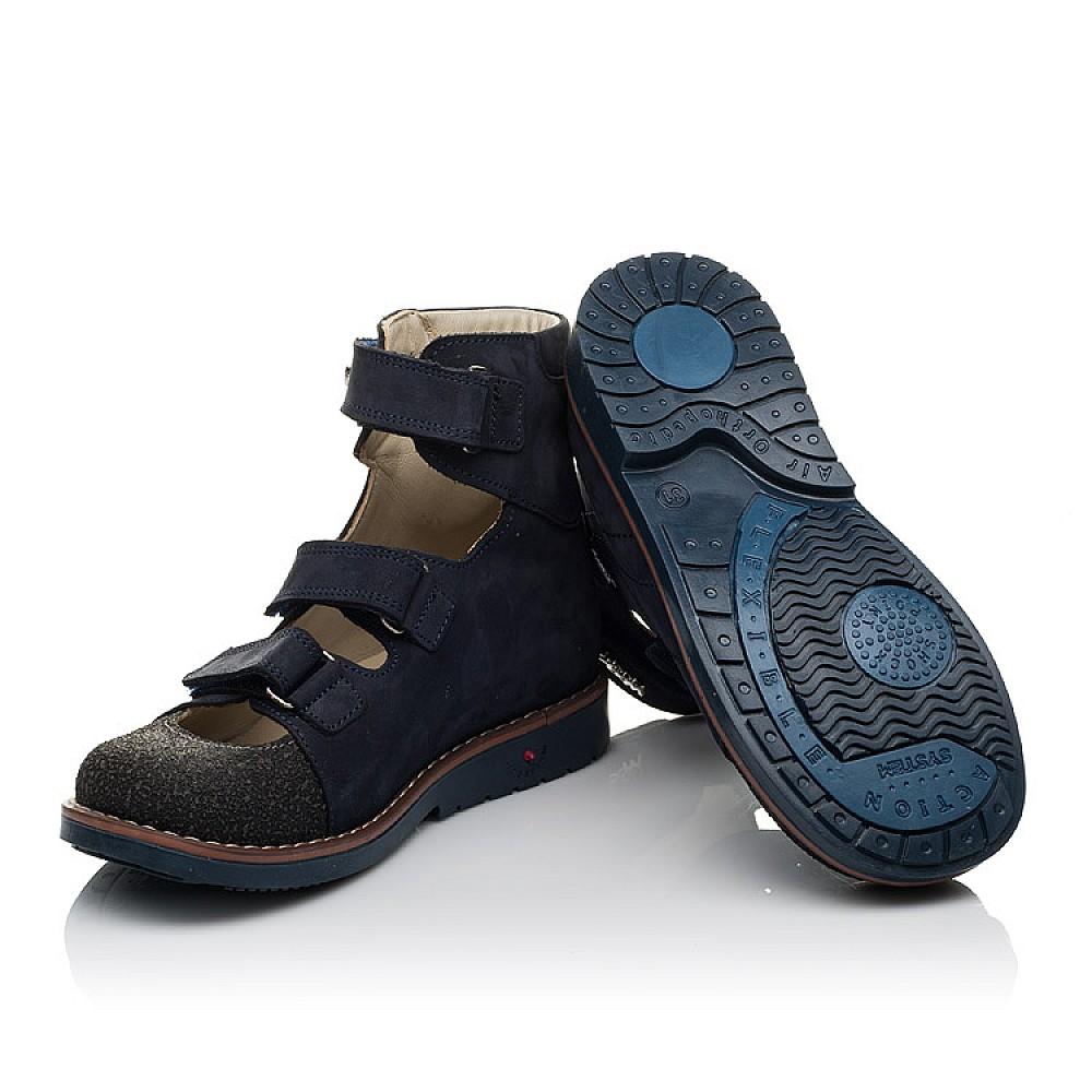 Детские ортопедические туфли (с высоким берцем) Woopy Orthopedic синие для мальчиков натуральный нубук размер 31-36 (3751) Фото 2