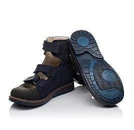 Детские ортопедичні туфлі (з високим берцем) Woopy Orthopedic синие для мальчиков натуральный нубук размер 33-36 (3751) Фото 2