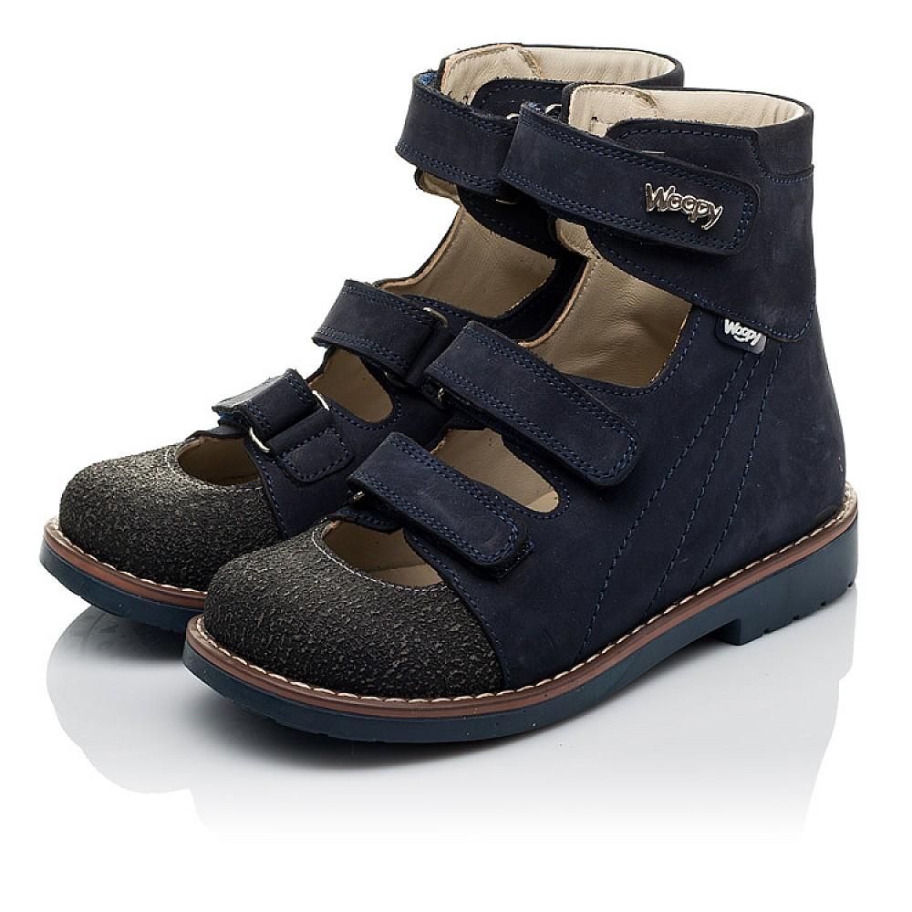 Детские ортопедические туфли (с высоким берцем) Woopy Orthopedic синие для мальчиков натуральный нубук размер 31-36 (3751) Фото 3
