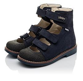 Детские ортопедичні туфлі (з високим берцем) Woopy Orthopedic синие для мальчиков натуральный нубук размер 33-36 (3751) Фото 3