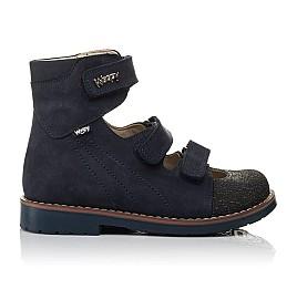 Детские ортопедичні туфлі (з високим берцем) Woopy Orthopedic синие для мальчиков натуральный нубук размер 33-36 (3751) Фото 4