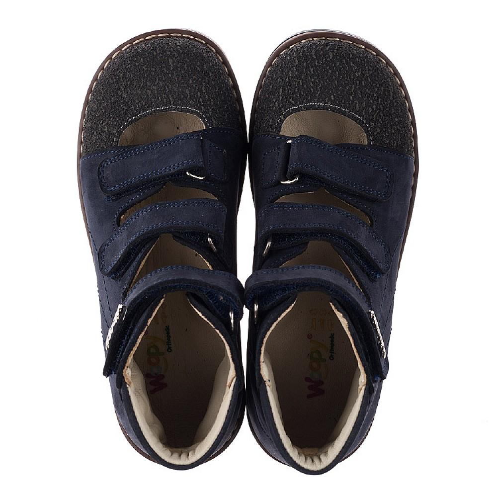 Детские ортопедические туфли (с высоким берцем) Woopy Orthopedic синие для мальчиков натуральный нубук размер 31-36 (3751) Фото 5
