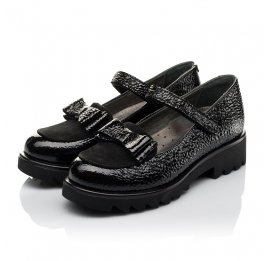 Детские туфли Woopy Orthopedic черные для девочек натуральная лаковая кожа размер 32-37 (3753) Фото 3